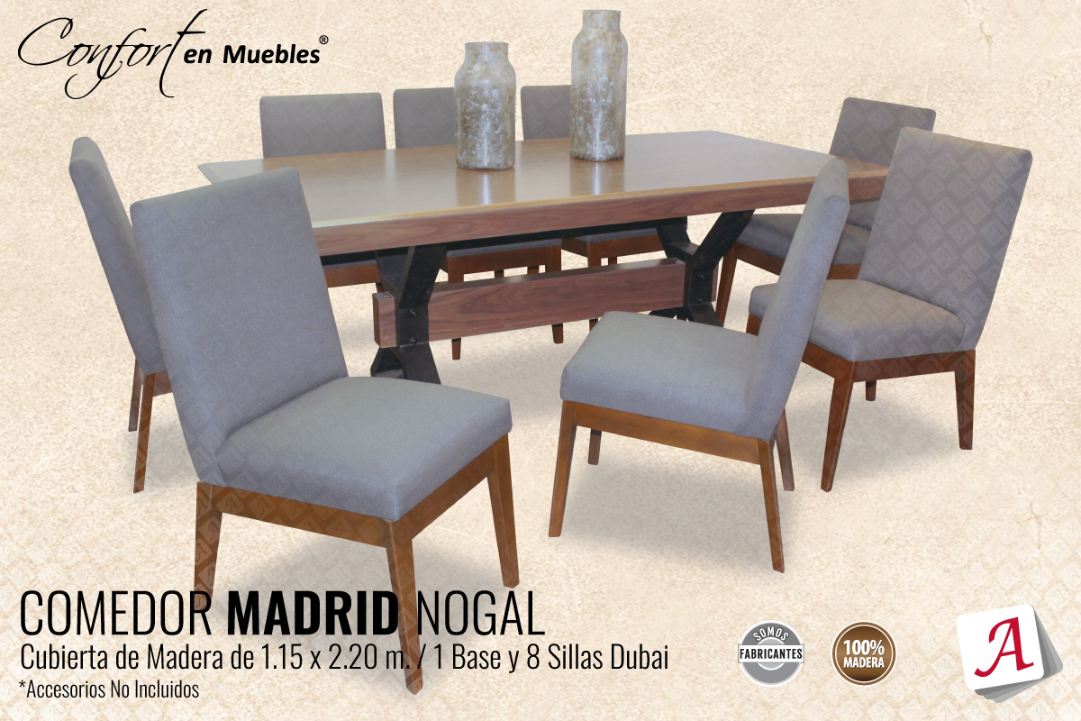 Comedor Madrid Nogal 8 Sillas Dubái